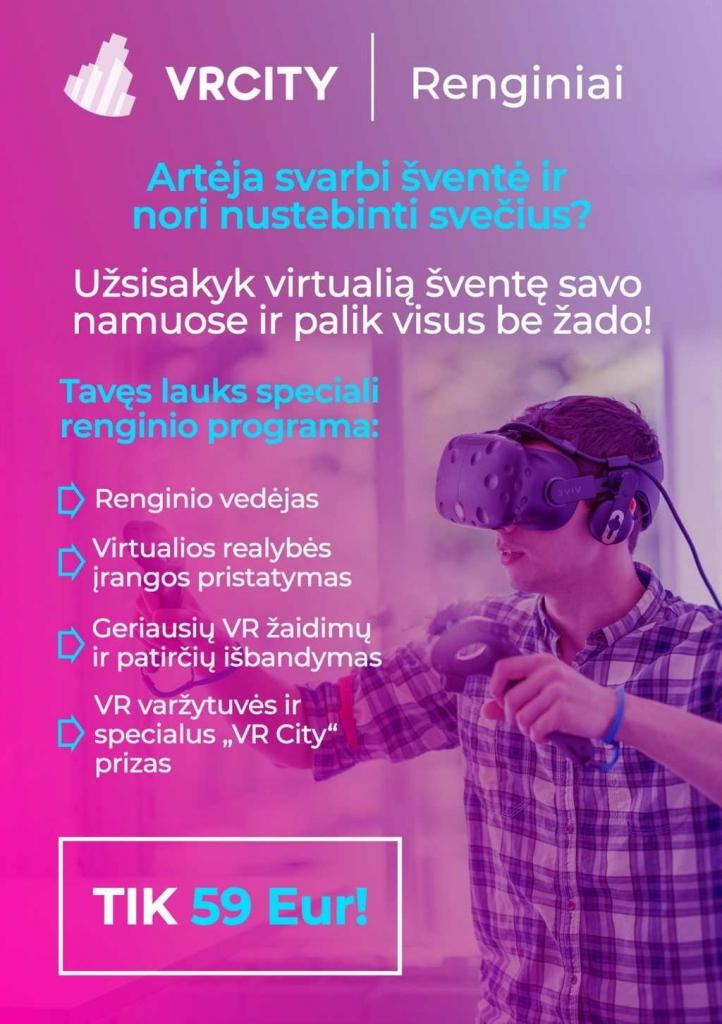 Virtuali realybė (VR) jūsų namuose | Šventės dalyviams leidžiame išbandyti pačias geriausias (VR) patirtis ir virtualius žaidimus | VR City | 8-600 202 36 | info@vrcity.lt | Saulėtekio al. 41, Vilnius